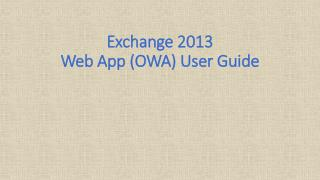 Exchange 2013 Web App (OWA) User Guide