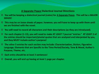 A Separate Peace  Dialectical Journal Directions
