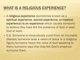 What is a religious Experience?