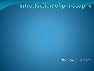 Introduction of philosophy