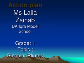 Action plan Ms  Laila Zainab DA  Iqra  Model School Grade : 1 Topic ; Singular/Plurals
