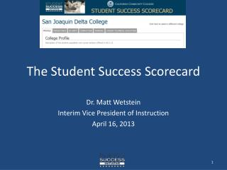 The Student Success Scorecard