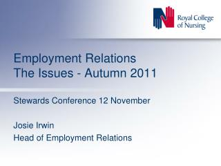 Employment Relations The Issues - Autumn 2011