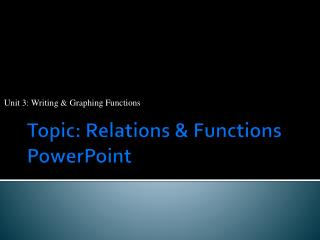 Topic: Relations & Functions PowerPoint