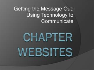 Chapter Websites