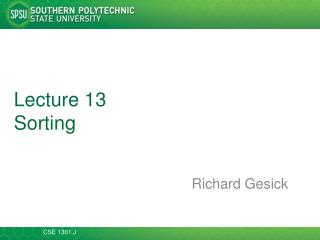 Lecture  13 Sorting
