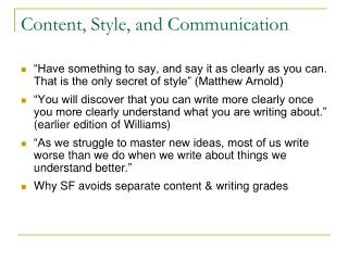 Content, Style, and Communication