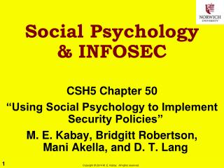 Social Psychology  & INFOSEC