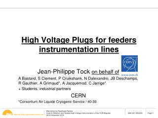 High Voltage Plugs for  feeders instrumentation lines