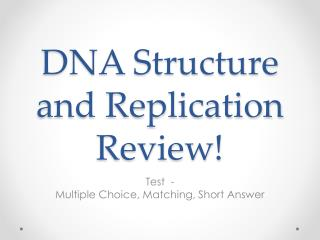 DNA Structure and Replication Review!