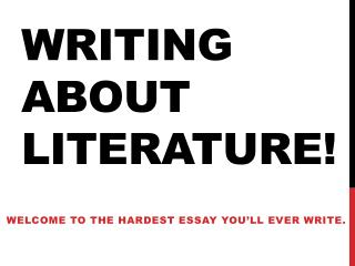 Writing about literature!