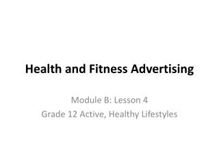 Health and Fitness Advertising
