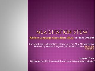 MLA Citation stew