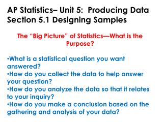 AP Statistics– Unit 5:  Producing Data Section 5.1 Designing Samples