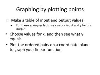 Graphing by plotting points
