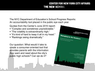 The NYC Department of Education's School Progress Reports: