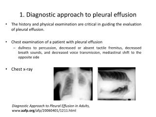 1. Diagnostic  approach to pleural effusion