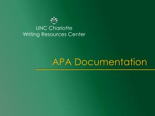 UNC Charlotte  Writing Resources Center