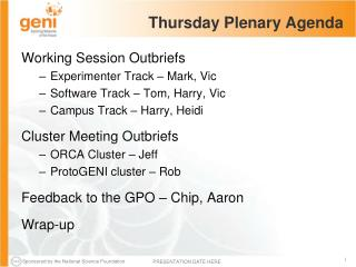 Thursday Plenary Agenda