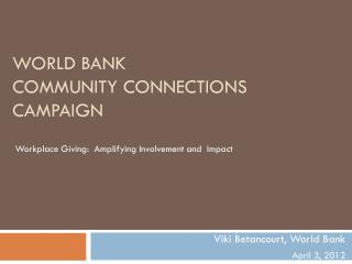 World Bank  CoMMUNITY Connections  Campaign