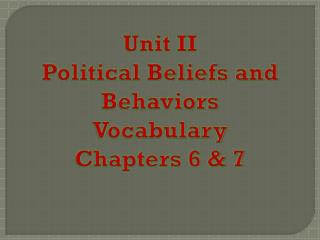 Unit II Political Beliefs and Behaviors Vocabulary Chapters 6 & 7