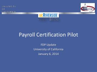 Payroll Certification Pilot