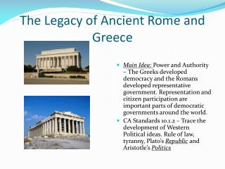 The Legacy of Ancient Rome and Greece