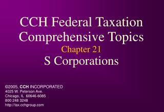 CCH Federal Taxation Comprehensive Topics Chapter 21 S Corporations