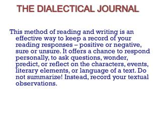 THE DIALECTICAL JOURNAL