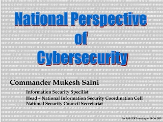 NSCS National Perspective of Cybersecurity