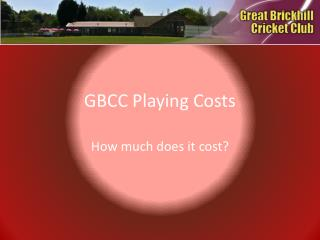 GBCC Playing Costs
