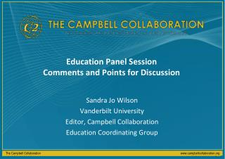 Education Panel Session Comments and Points for Discussion