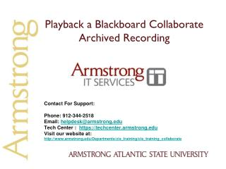 Playback a Blackboard Collaborate Archived Recording