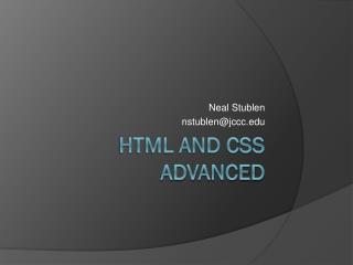 HTML and CSS Advanced