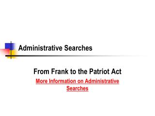 Administrative Searches