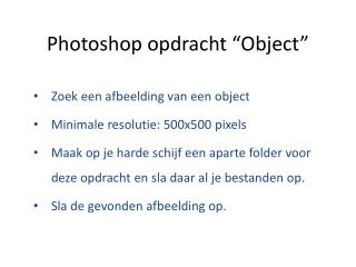"Photoshop opdracht ""Object"""