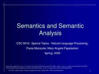 Semantics and Semantic Analysis
