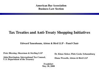 Tax Treaties and Anti-Treaty Shopping Initiatives