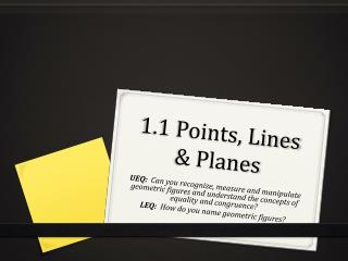 1.1 Points, Lines & Planes