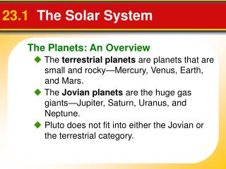 23.1   The Solar System