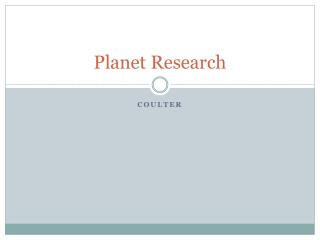 Planet Research