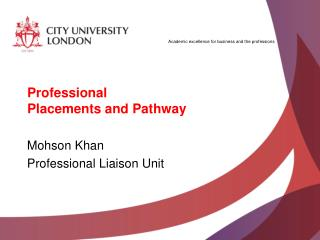 Professional Placements and Pathway