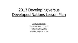 2013 Developing versus Developed Nations Lesson Plan