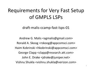 Requirements for Very Fast Setup of GMPLS LSPs