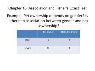 Chapter 16: Association and Fisher's Exact Test