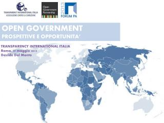 OPEN  GOVERNMENT PROSPETTIVE E OPPORTUNITA'