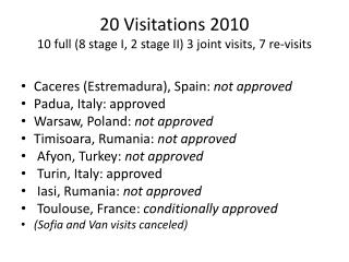 20 Visitations 2010 10 full (8 stage I, 2 stage II) 3 joint  visits , 7  re - visits