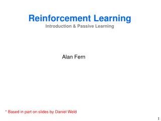 Reinforcement  Learning Introduction & Passive Learning