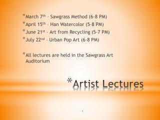 Artist Lectures