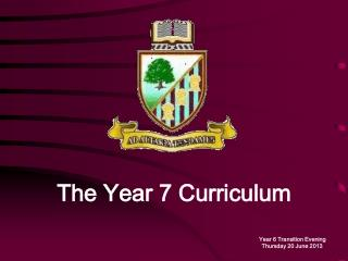 The Year 7 Curriculum Year 6 Transition Evening